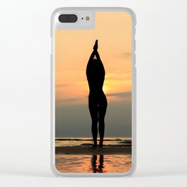 Beautful Yoga Silhouette on Beach Clear iPhone Case