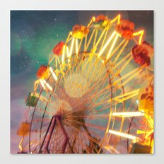 Ride the Night Sky carnival ferris wheel Canvas Print