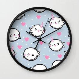 Cute narwhals. Wall Clock
