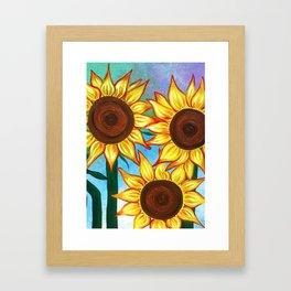 Three Sunflowers Framed Art Print