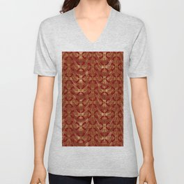 Art-deco gold foil look & burgundy pattern Unisex V-Neck