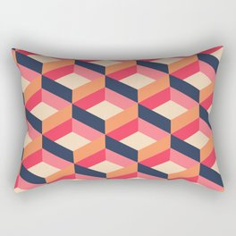 Retro Geo - Navy & Pink Rectangular Pillow