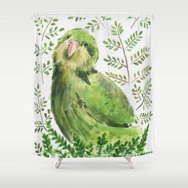 Kakapo in the ferns Shower Curtain