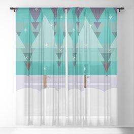 Winter Scene Sheer Curtain