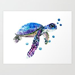 Sea Turtle, blue purple illustration children room cute turtle artwork Art Print