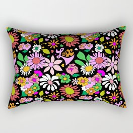 60's Lovers Floral in Black Rectangular Pillow