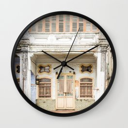 George Town, Penang Shop House Street Scene Wall Clock