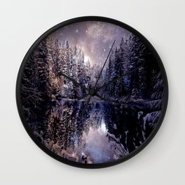 A Cold Winter's Night Neutral Beige Navy Blue Wall Clock