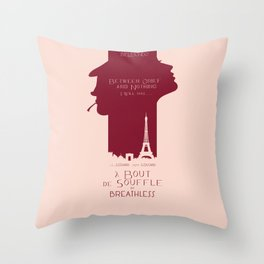 Breathless (À bout de souffle) minimal movie poster, Jean-Luc Godard, classic french film, new wave Throw Pillow