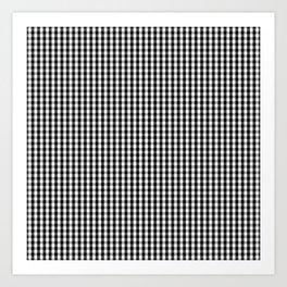 Classic Small Black & White Gingham Check Pattern Art Print