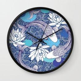 Blue Koi Ripples fish Pattern Wall Clock