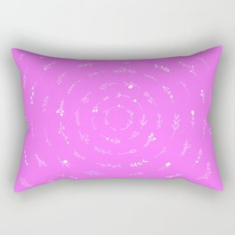 Minimalist Spring Floral Cyclone (White on Pink) Rectangular Pillow