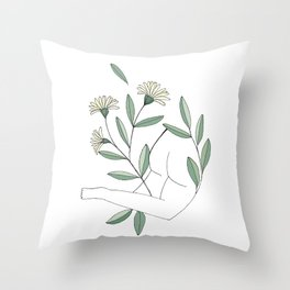 Flower lounging Throw Pillow
