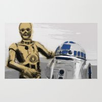r2d2 Area & Throw Rugs featuring C3PO & R2D2 by Berta Merlotte