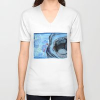 shark V-neck T-shirts featuring Shark by Leonie O'Moore