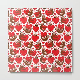 pattern Three-toed sloth holding red heart, on white background. Valentine's Day Card. Funny Kawaii Metal Print
