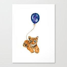 flying baby tiger watercolor painting  Canvas Print