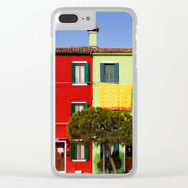Burano cityscape, green and red houses Clear iPhone Case