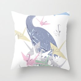 Crane wit paper origami cranes Throw Pillow