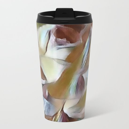 Heavenly Rose Petals Abstract - Taupe Metal Travel Mug