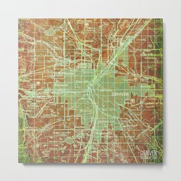 Denver Colorado map, year 1958, orange and green artwork Metal Print