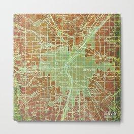 Denver Colorado map, year 1958, orange and green artwork Metal Print