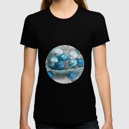 Blue  turquoise christmas baubles and bowl T-shirt