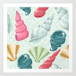 Pastel seashells Art Print