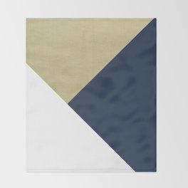 Gold meets Navy Blue & White Geometric #1 #minimal #decor #art #society6 Throw Blanket