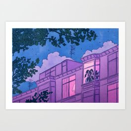 Looking into windows at night Art Print