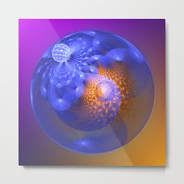 Out of the blue, fractal 3-D abstract Metal Print