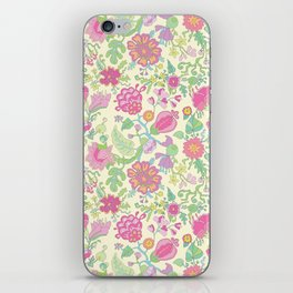 Pink and Peach Flowered curtains iPhone Skin