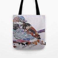 sparrow Tote Bags featuring sparrow by Ruud van Koningsbrugge