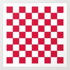 Checker (Crimson/White) Art Print