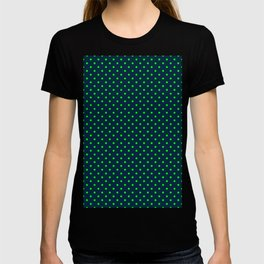 Mini Navy and Neon Lime Green Polka Dots T-shirt