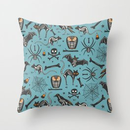 Halloween X-Ray Blue Throw Pillow
