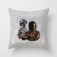 daft punk Throw Pillows featuring Daft Punk by LostMind
