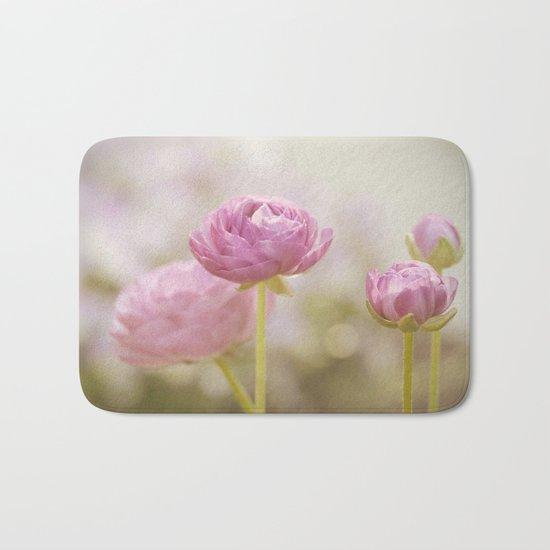 Pink floral Ranunculus flowers in love Bath Mat