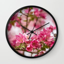 Bright Pink Crabapple Blossoms Wall Clock