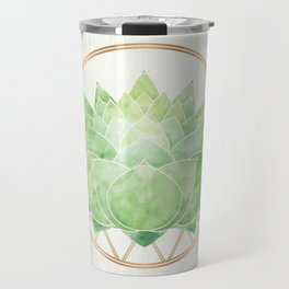 Watercolor Succulent with Metallic Gold Accents Travel Mug