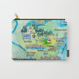 Wisconsin USA State Illustrated Travel Poster Favorite Tourist Map Carry-All Pouch