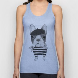 French Bulldog. (black and white version) Unisex Tank Top