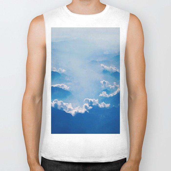 Blue mountains, white clouds Biker Tank