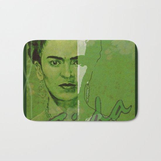 Frida Kahlo - between worlds - green Bath Mat