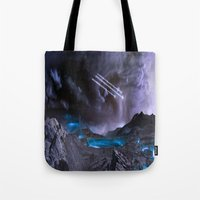 planet of the apes Tote Bags featuring Extraterrestrial Landscape : Galaxy Planet by 2sweet4words Designs