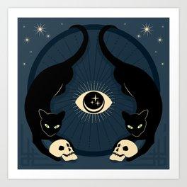 Midnight Cats Doing Their Dark Business Art Print