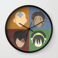 aang Wall Clocks featuring Avatar by Raquel Segal