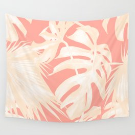 Tropical Coral Pink Palm Leaf Pattern Wall Tapestry