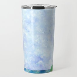 Watercolor Collage Lighthouse Travel Mug