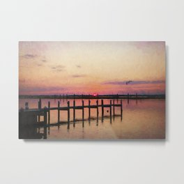 Sunset In Downtown Chincoteague II Metal Print